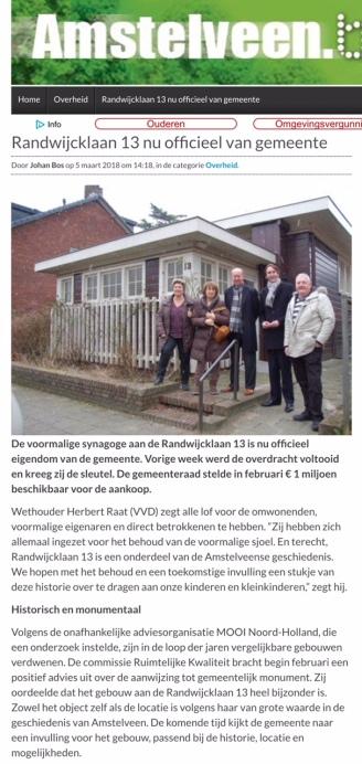2018-5-3 Amstelveenblog.nl: Herbert Raat over aankoop kleine sjoel