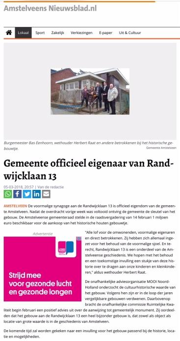2018-5-3 Amstelveens Nieuwsblad aankoop kleine sjoel