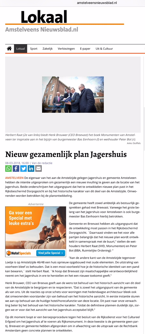 2018-8-3 Het Amstelvens Nieuwsblad over 't Jagershuis