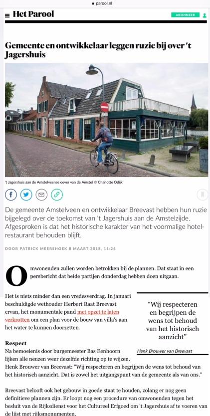 2018-8-3 Het Parool over 't Jagershuis