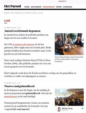 2019-29-3 Het Parool over de formatie van Herbert Raat VVD en Floor Gordon D66 in Amstelveen