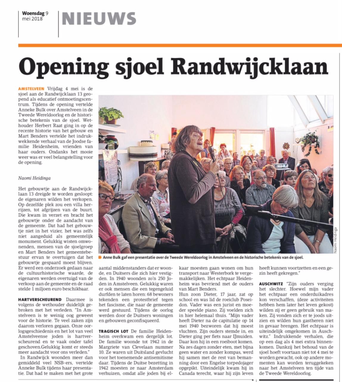 2018-9-5 Amstelveens Nieuwsblad over open Joodse huizen Anne Bilk, Mart Benders en Herbert Raat Amstelveen Randwijcklaan 13