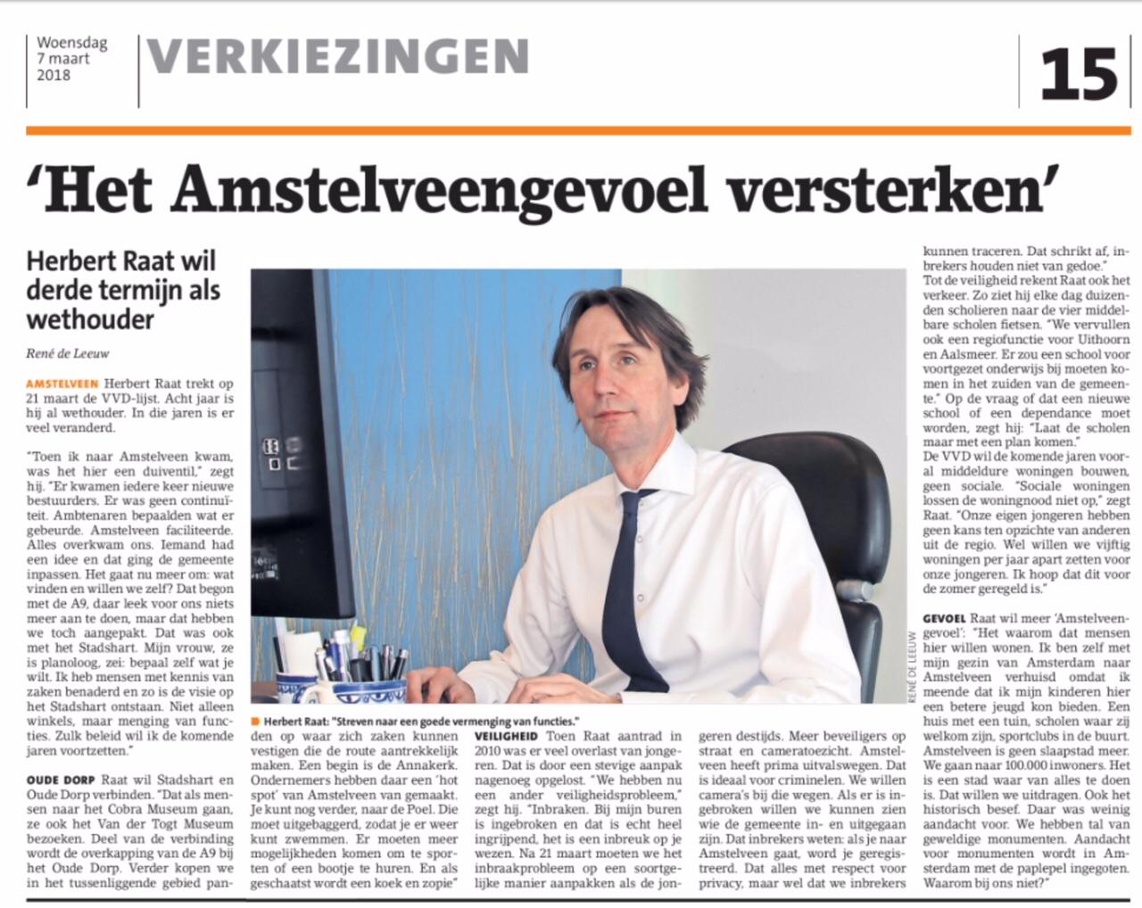 2018-7-3 Amstelveens Nieuwsblad interview lijstrekker VVD Amstelveen Herbert Raat