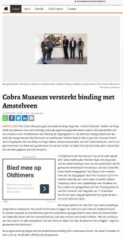 2018-25-9 Amstelveens Nieuwsblad: wethouder Herbert Raat over de versterking van de lokale binding van het Cobramuseum