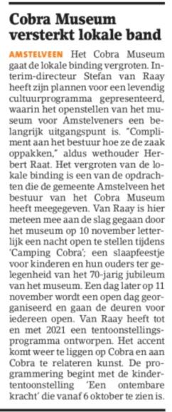 2018-26-9 Amstelveens Nieuwsblad; Herbert Raat over nieuw elan Cobra Museum