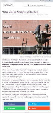 2018-19-7 AmstelveenZ; Herbert Raat over Cobra museum elitair