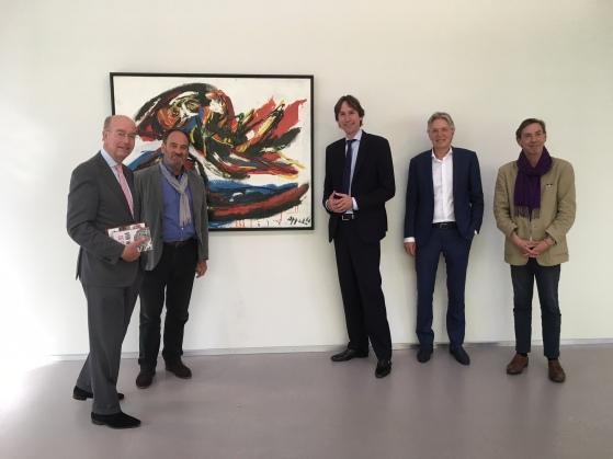 Bas Eenhoorn, Hugo Siblesz, Herbert Raat, Wouter van der Schaaf en Stefan van Raay in het Cobra museum