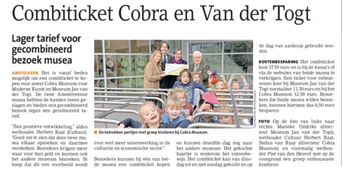 2019-6-2 Amstelveens Nieusblad; Herbert Raat over combiticket Cobra en museum Jan van der Togt