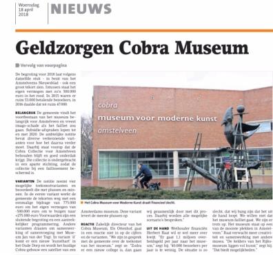2018-18-4 Voorpagina Amstelveens Nieuwsblad; wethouder Herbert Raat over financien van het Cobra museum 2-2