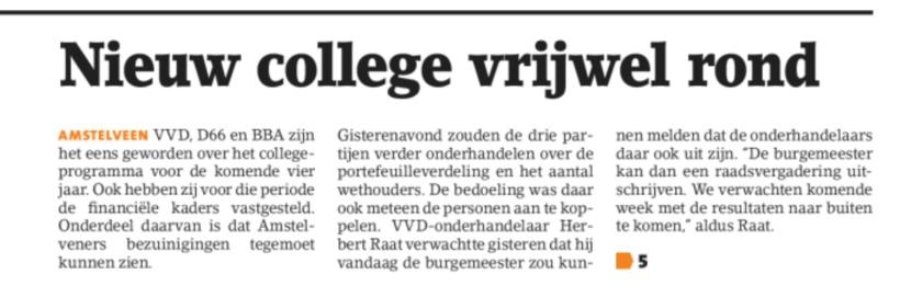 2018-25-4 Amstelveens Nieuwsblad; Herbert Raat over de formatie in Amstelveen 1 van 2