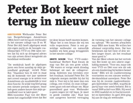 2018-1-5 Amstelveens Nieuwsblad over vertrek Peter Bot
