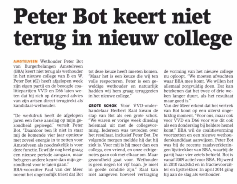 2018-1-5 Amstelveens Nieuwsblad; Herbert Raat over vertrek Peter Bot