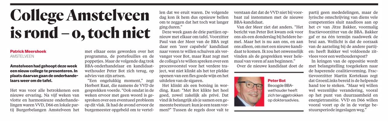 2018-8-5 Het Parool; wethouder Herbert Raat over vertrek Peter Bot en de formatie in Amstelveen