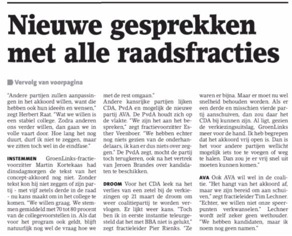 2018-16-5 Amstelveens Nieuwsblad; Herbert Raat over formatie college van B&W Amstelveen