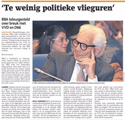 2018-16-5 Amstelveens Nieuwsblad; Herbert Raat over BBA en met een terugblik over de formatie