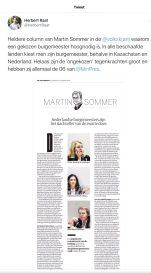 2019-12-10; Twitter Herbert Raat over de column van Martin Sommer in de Volkskrant over de gekozen burgemeester