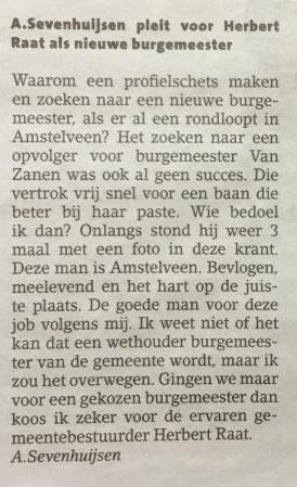 2018-21-11 Amstelveens Nieuwsblad ingezonden brief over nieuwe burgemeester Amstelveen