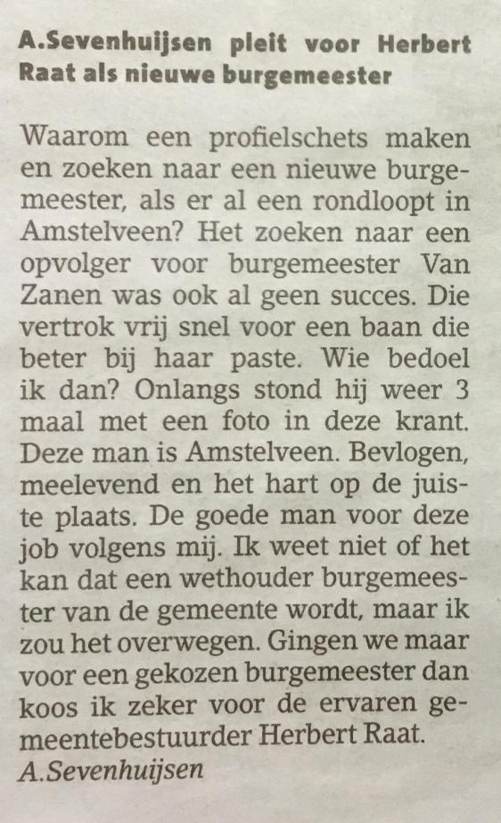 2018-21-11 Amstelveens Nieuwsblad ingezonden brief van A. Sevenhuijzen over nieuwe burgemeester Amstelveen