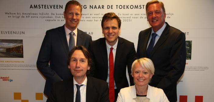 2018-wethouders Amstelveen: Herbert Raat Floor Gordon, Frank Berkhout, Marijn van Ballegooijen en Rob Ellermeijer