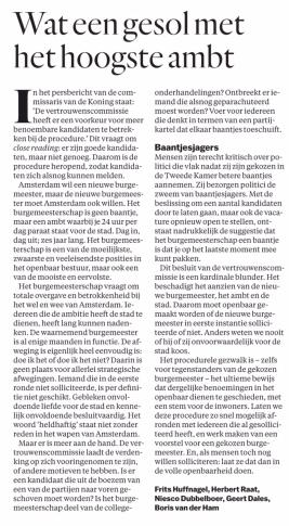 2018-21-5 Het Parool ingezonden artiklel door Frits Huffnagel, Herbert Raat, Geert Dales, Boris van der Ham over gekozen burgemeester