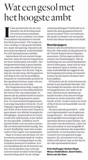 2018-21-5 Het Parool ingezonden artiklel door Frits Huffnagel, Herbert Raat, Geert Dales, Boris van der Ham en