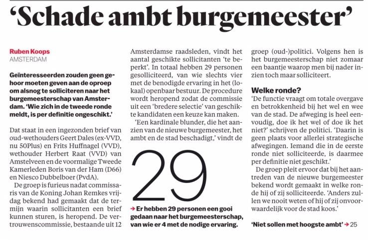 2018-21-5 Het Parool Ruben Koops over artikel Frits Huffnagel, Herbert Raat, Geert Dales, Boris van der Ham over de benoeming burgemeester Amsterdam