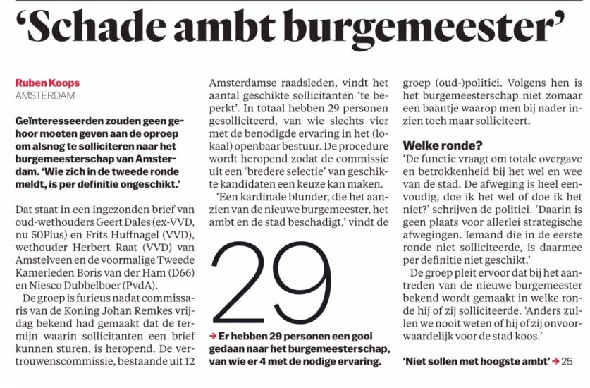2018-21-5 Het Parool Ruben Koops over benoeming burgemeester Amsterdam