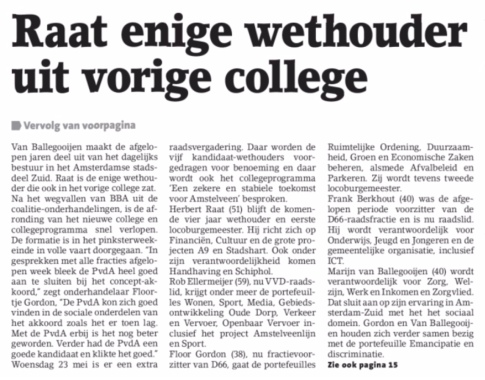 2018-23-5 Amstelveens Nieuwsblad over nieuw college van B&W Amstelveen
