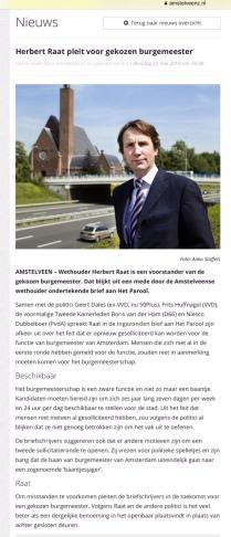 2018-21-5 Amstelveenz Herbert Raat over gekozen burgemeester