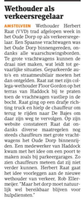 2018-juni Het Amstelveens Nieuwsblad; Herbert Raat over weren vrachtwagens Oude Dorp