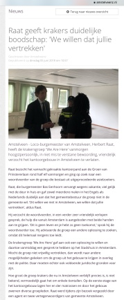 2018-5-6; Amstelveenz; wethouder Herbert Raat tegen we are here: kraken niet in Amstelveen