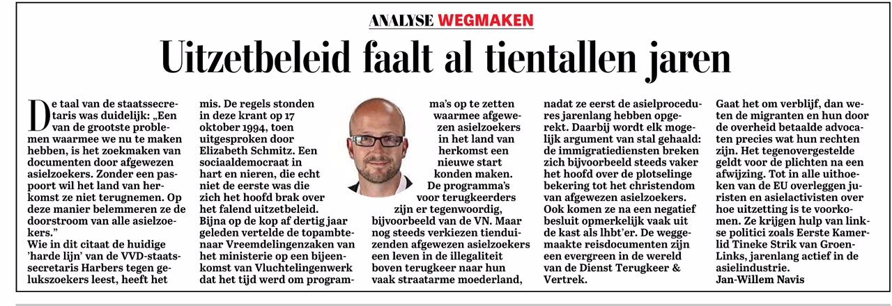 2018-juni De Telegraaf analyse over het falende uitzetbeleid