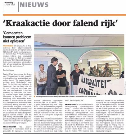 2018-13-6 Amstelveens Nieuwsblad; Herbert Raat over kraakactie 'we are here'