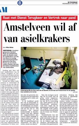 2018-13-6 De Telegraaf over verschil aanpak asielkrakers Amstelveen Herbert Raat en bas Eenhoorn en Jozias van Aartsen Amsterdam