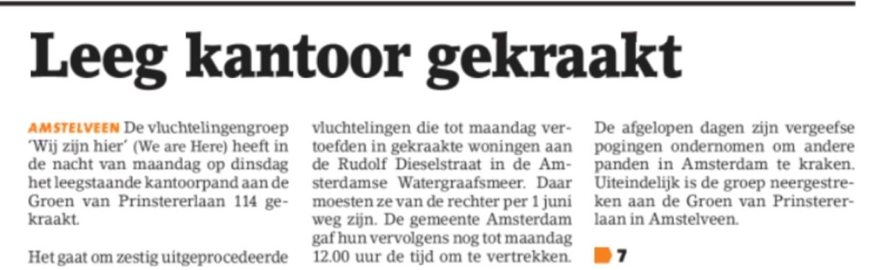 2018-6-6 Voorpagina Amstelveens Nieuwsblad; Loco-burgemeester Herbert Raat over We are Here 1 van 2