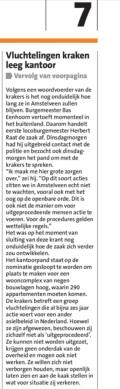 2018-6-6 Voorpagina Amstelveens Nieuwsblad; Loco-burgemeester Herbert Raat over kraken door We are Here 2 van 2