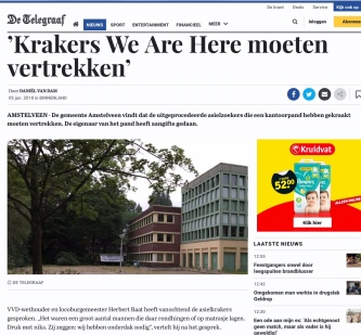 2018-5-6 De Telegraaf: Herbert Raat over krakers in Amstelveen we are here 1 van 2
