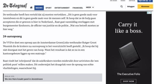 2018-5-6 De Telegraaf: Herbert Raat over krakers in Amstelveen we are here 2 van 2