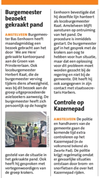 2018-20-6 Opening Amstelveens Nieuwsblad over bezoek burgemeester Bas Eenhoorn en wethouder Herbert Raat aan krakers