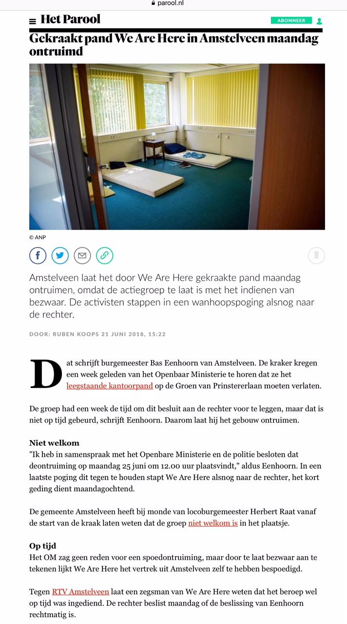 2018-21-6 Het Parool over ontruiming krakers Amstelveen