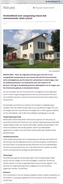2017-23-12 Amstelveenz: Herbert Raat over verschil van mening Witte School florencius