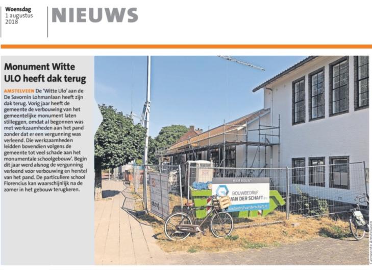 2018-1-8 Amstelveens Nieuwsblad over nieuw Dak Witte school Amstelveen