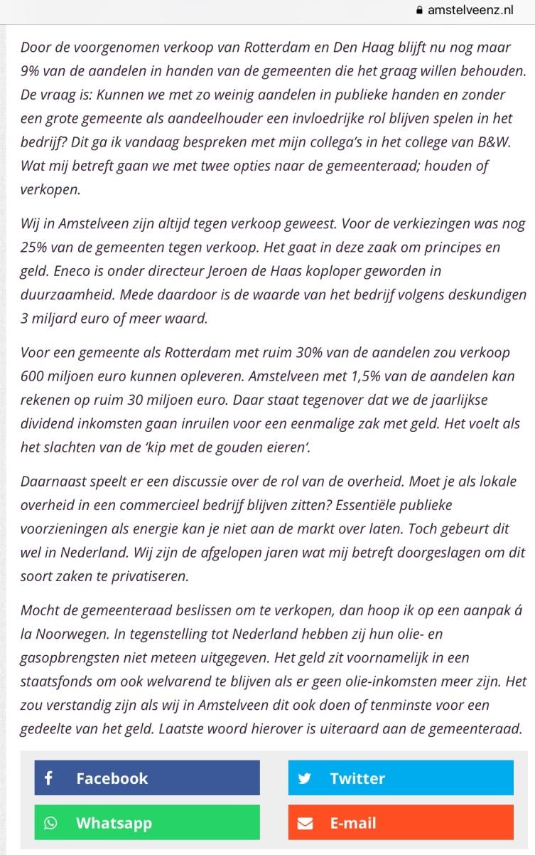 2018-3-7 Amstelveenz Herbert Raat over verkoop Eneco door Rotterdam 2 van 2