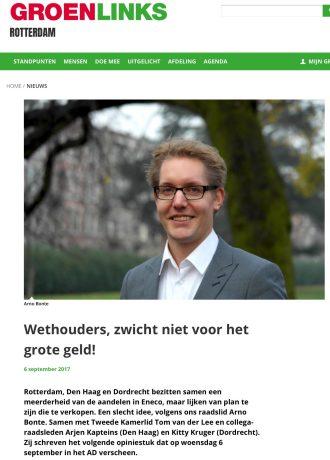 2017-6-9 Groen Links raadslid Arno Bonte roept voor de verkiezingen op Eneco niet te verkopen. Na de verkiezingen is hij wethouder in Rotterdam en verkoopt alsnog 1 van 2.