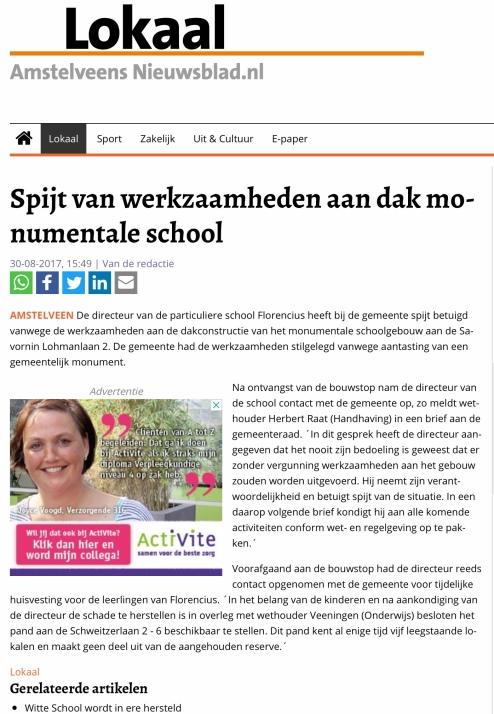 2017-30-8 Amstelveens Nieuwsblad: Herbert Raat over spijt schoolbestuur Florencius