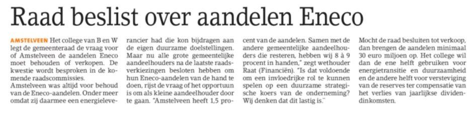 2018-5-9 Amstelveens Nieuwsblad Eneco aandelen Amstelveen