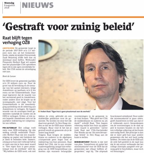 2018-8-Amstelveens Nieuwsblad: wethouder Herbert Raat over ozb