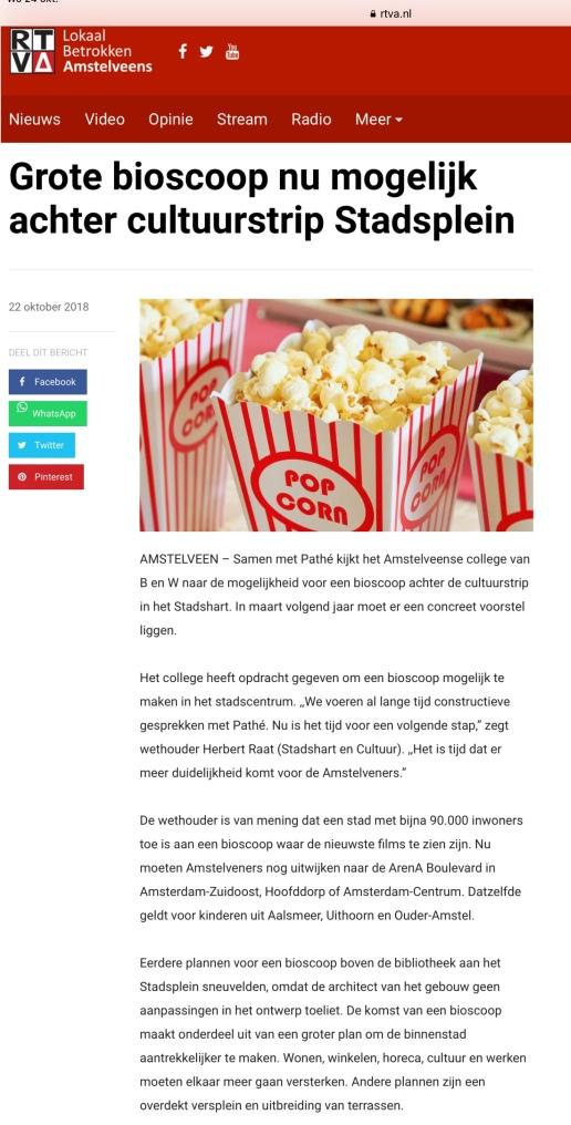 2018-22-10 RTVA;; wethouder Herbert Raat over een Pathé bioscoop in Amstelveen