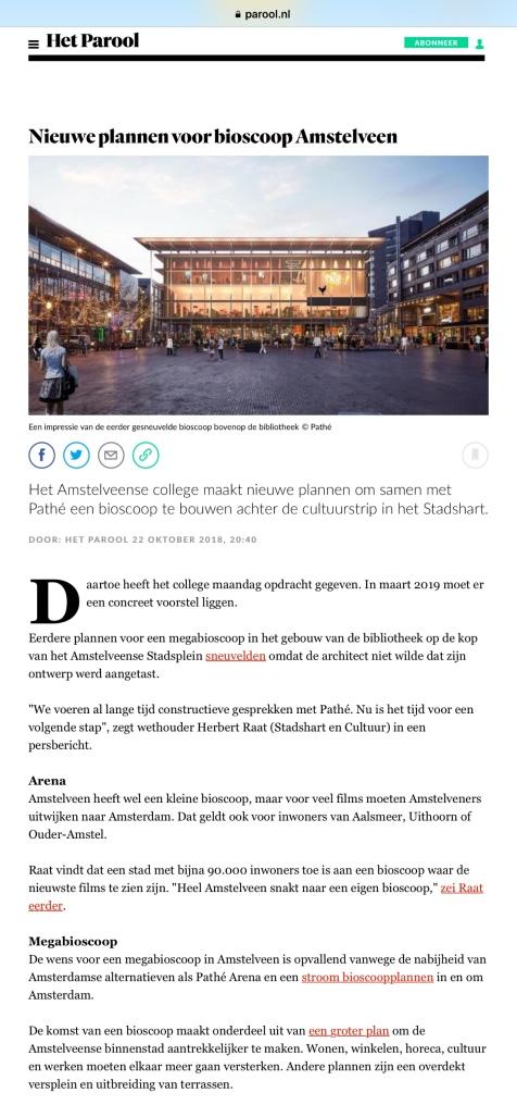 2018-22-10 Het Parool; wethouder Herbert Raat over een Pathé bioscoop in Amstelveen