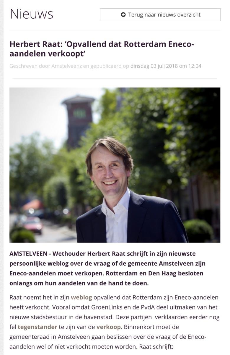 2018-3-7 Amstelveenz Herbert Raat over verkoop Eneco door Rotterdam 1 van 2